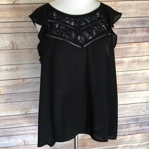Express brand black semi sheer blouse